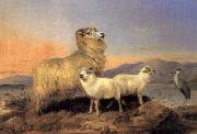 Richard ansdell,R.A. A Ewe with Lambs and A Heron Beside A Loch oil painting