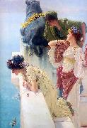 Sir Lawrence Alma-Tadema,OM.RA,RWS A coign of vantage oil painting reproduction