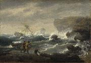 Thomas Birch Shipwreck oil painting