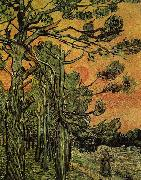 Palm Trees against a Red Sky with Setting Sun, Vincent Van Gogh