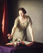 William McGregor Paxton Girl Arranging Flowers oil painting