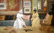 William Merritt Chase A Friendly Call. oil painting