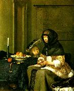 gerard terborch kvinna som skalar ett apple oil painting reproduction