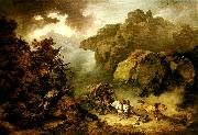 Philippe Jacques landscape with carriage in a storm oil painting