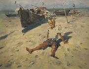 unknow artist Russov-Lev-Boy-and-Sea-rus13bw oil painting reproduction