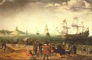 The painting Coastal Landscape with Ships by the Dutch painter Adam Willaerts, Adam Willaerts