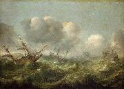 The painting Stormy Sea, Adam Willaerts
