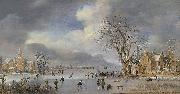 A winter landscape with skaters and kolf players on a frozen river,, Aert van der Neer