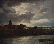 Andreas Achenbach Landschaft mit Flub oil painting reproduction