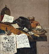 Still life with a copy of De Waere Mercurius, a broadsheet with the news of Tromp's victory over three English ships on 28 June 1639, and a poem telli, Anthonie Leemans