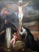 Christ on the Cross with Saint Catherine of Siena, Saint Dominic and an Angel, Anthony Van Dyck