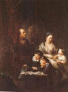 Artists family before the portrait of Johann Georg Sulzer