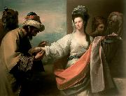 Isaac s servant trying the bracelet on Rebecca s arm, Benjamin West