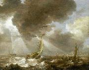 Bonaventura Peeters Dutch Ferry Boats in a Fresh Breeze oil painting reproduction
