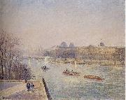 Camille Pissarro Morning, Winter Sunshine, Frost, the Pont-Neuf, the Seine, the Louvre, Soleil D'hiver oil painting reproduction