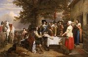 Charles I holding a council of war at Edgecote on the day before the Battle of Edgehill, Charles Landseer
