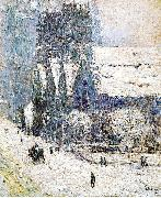 Painting, oil on canvas, of Calvary Church, Childe Hassam