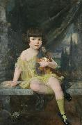 Young Girl in Yellow Dress Holding her Doll