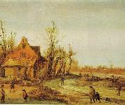 Esaias Van de Velde A Winter Landscape oil painting