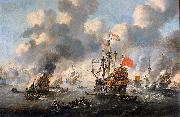Esaias Van de Velde The burning of the English fleet off Chatham oil painting