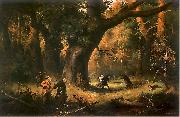 Franciszek Kostrzewski Hunting; illustration to IV tome oil painting reproduction