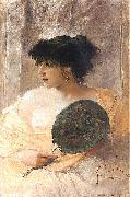 Woman with a fan.