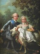 Francois-Hubert Drouais Charles of France and his sister Clotilde oil painting reproduction