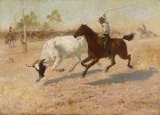 Frank Mahony Rounding up a Straggler oil painting reproduction