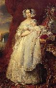 Franz Xaver Winterhalter Portrait of Helena of Mecklemburg-Schwerin, Duchess of Orleans with her son the Count of Paris oil painting reproduction