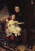 Portrait of the Prince de Wagram and his daughter Malcy Louise Caroline Frederique, Franz Xaver Winterhalter