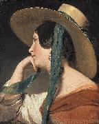 Maiden with a Straw Hat, Friedrich von Amerling