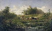 Cows at a pond