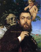 Self-portrait with Love and Death, Hans Thoma