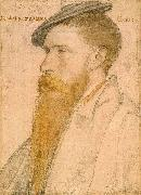 Portrait of William Reskimer. Coloured chalks on pink-primed paper, Hans holbein the younger