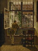 Interior with a boy at a window
