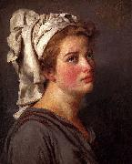 Louis David Portrait Of A Young Woman In A Turban