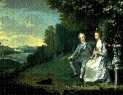Portrait of Sir Francis and Lady Dashwood at West Wycombe Park, James Holland