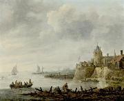 River Scene with a Fortified Shore