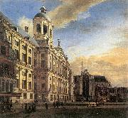 Amsterdam, Dam Square with the Town Hall and the Nieuwe Kerk, Jan van der Heyden