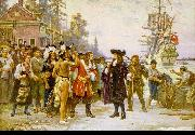 Jean Leon Gerome Ferris The Landing of William Penn oil painting