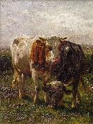 Johannes Hubertus Leonardus de Haas Bull and cow in the floodplains at Oosterbeek oil painting reproduction