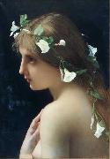 Jules Joseph Lefebvre Nymph with morning glory flowers oil painting reproduction