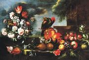 LIGOZZI, Jacopo Fruit and a parrot oil painting artist