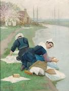 Women Washing Laundry on a River Bank