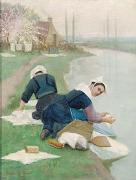 Women Washing Laundry on a River Bank, oil painting by Lionel Walden