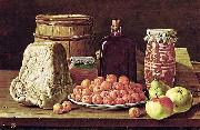 Luis Eugenio Melendez Still Life with Fruit and Cheese oil painting artist