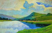Nico Klopp Moselle near Schengen at the Drailannereck oil painting