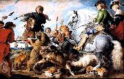A 1615-1621 oil on canvas 'Wolf and Fox hunt' painting by Peter Paul Rubens, Peter Paul Rubens