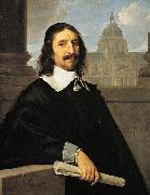 Portrait of Jacques Lemercier (1585-1654), Lemercier's Sorbonne in the background., Philippe de Champaigne