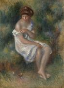 Seated Girl in Landscape, Pierre Auguste Renoir